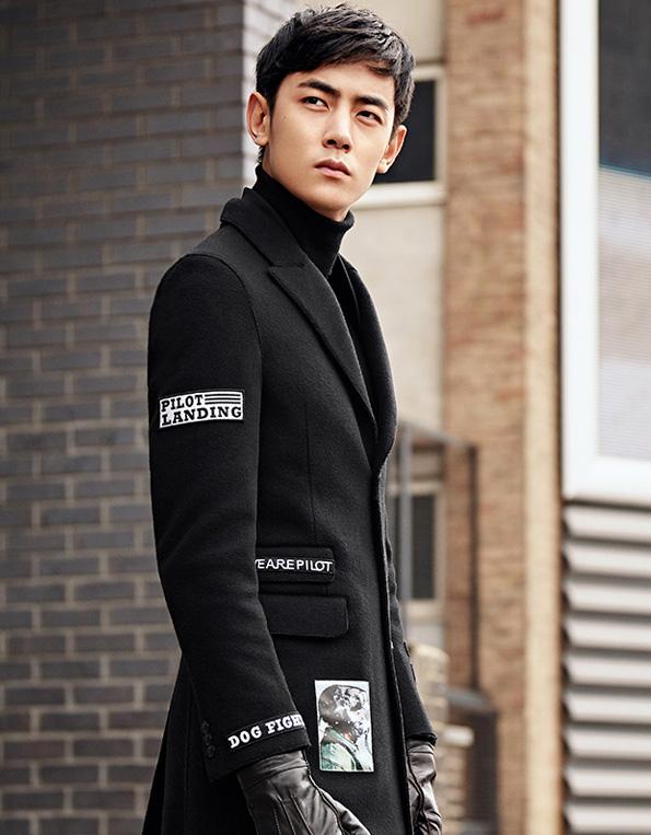 韩版修身贴布呢大衣黑色翻领羊毛呢大衣