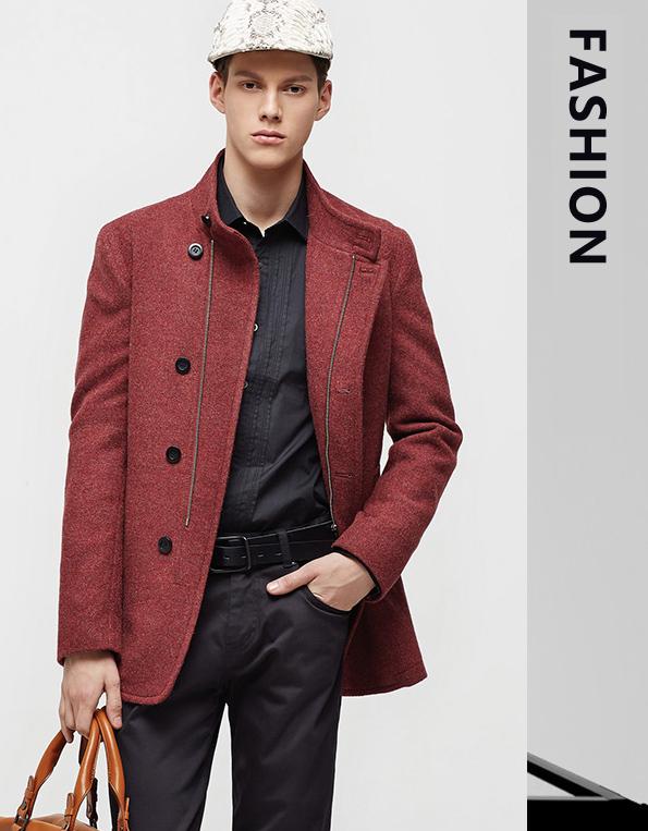 冬季新款时尚灰色单排扣长款羊毛呢大衣