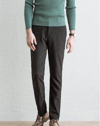 磨毛竖条纹休闲裤西裤